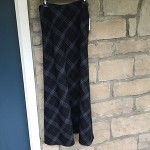 Croft & Barrow Blue Plaid Maxi Skirt NEW